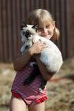 Juega a una muchacha y con un gato Fotos de archivo
