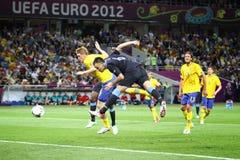 Juego 2012 del EURO de la UEFA Suecia contra Inglaterra Imagenes de archivo