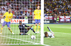 Juego 2012 del EURO de la UEFA Suecia contra Inglaterra Imágenes de archivo libres de regalías