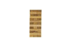 Juego aislado del bloque de madera de Jenga Fotografía de archivo libre de regalías