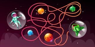 Juego cósmico de la educación del laberinto de la historieta del vector ilustración del vector