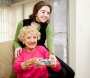 Juego con la abuela Foto de archivo libre de regalías