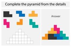 Juego con los detalles coloridos para los niños, pirámide completa, nivel medio, juego para los niños, hoja de trabajo preescolar stock de ilustración
