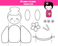 Juego creativo educativo de los niños de DIY Haga a una muchacha japonesa de la muñeca con las tijeras y el pegamento Actividad i Fotos de archivo libres de regalías
