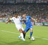 Juego Cuarto-final Inglaterra v Italia del EURO 2012 de la UEFA Fotos de archivo libres de regalías