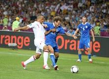 Juego Cuarto-final Inglaterra v Italia del EURO 2012 de la UEFA Imágenes de archivo libres de regalías