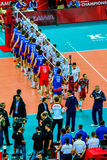Juego de abertura del campeonato del mundo de los hombres del voleibol Polonia-Serbia, Varsovia, el 30 de agosto de 2014 Fotos de archivo libres de regalías