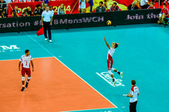 Juego de abertura del campeonato del mundo de los hombres del voleibol Polonia-Serbia, Varsovia, el 30 de agosto de 2014 Fotografía de archivo libre de regalías
