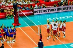 Juego de abertura del campeonato del mundo de los hombres del voleibol Polonia-Serbia, Varsovia, el 30 de agosto de 2014 Foto de archivo libre de regalías