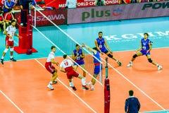 Juego de abertura del campeonato del mundo de los hombres del voleibol Polonia-Serbia, Varsovia, el 30 de agosto de 2014 Foto de archivo