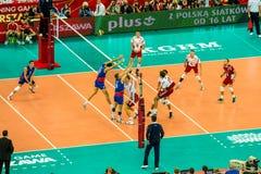 Juego de abertura del campeonato del mundo de los hombres del voleibol Polonia-Serbia, Varsovia, el 30 de agosto de 2014 Imagen de archivo