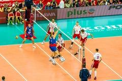 Juego de abertura del campeonato del mundo de los hombres del voleibol Polonia-Serbia, Varsovia, el 30 de agosto de 2014 Fotografía de archivo