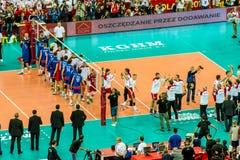 Juego de abertura del campeonato del mundo de los hombres del voleibol Polonia-Serbia, Varsovia, el 30 de agosto de 2014 Imagenes de archivo