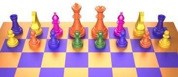 Juego de ajedrez coloreado en el fondo blanco Foto de archivo libre de regalías