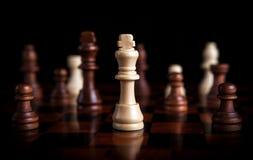 Juego de ajedrez con el rey en el centro Imágenes de archivo libres de regalías