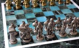 Juego de ajedrez de mármol Fotos de archivo