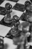 Juego de ajedrez en blanco y negro Imagen de archivo libre de regalías