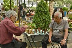 Juego de ajedrez en Bryant Park New York City fotografía de archivo libre de regalías
