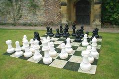 Juego de ajedrez grande en una hierba del jardín Fotos de archivo