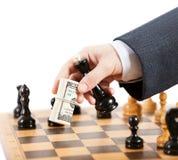 Juego de ajedrez injusto del hombre de negocios que juega Imágenes de archivo libres de regalías