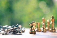 Juego de ajedrez, un soporte del caballero como ganador sobre la caída abajo de enemy' rey de s Concepto competitivo del neg fotografía de archivo libre de regalías