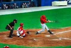 juego de béisbol de Cuba-Canadá Foto de archivo