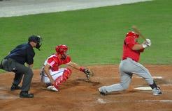 juego de béisbol de Cuba-Canadá Imagenes de archivo