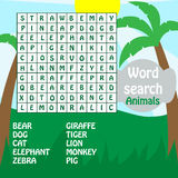 Juego de búsqueda de la palabra. animales Imágenes de archivo libres de regalías