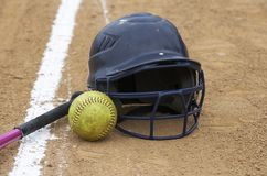 Juego de beísbol con pelota blanda Fotos de archivo