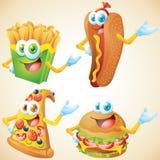 Juego de caracteres de los alimentos de preparación rápida Imagen de archivo