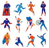 Juego de caracteres del super h?roe ilustración del vector