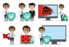 Juego de caracteres del vector del informático Técnico del ordenador que usa los ordenadores del uso del antivirus ilustración del vector