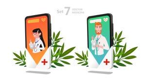 Juego de caracteres en línea del doctor, consulta paciente ilustración del vector