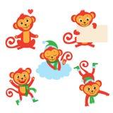 Juego de caracteres lindo del mono Ejemplos del vector de A en diversas actitudes ilustración del vector