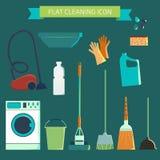 Juego de caracteres plano del color del vector Limpieza y lavadero de la casa Vec Foto de archivo