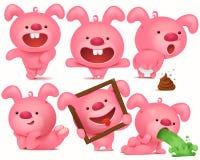 Juego de caracteres rosado del emoji del conejito con diversas emociones y situaciones ilustración del vector