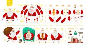 Juego de caracteres de Santa Claus para el diseño de la animación y del movimiento Foto de archivo
