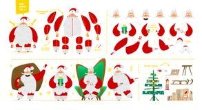 Juego de caracteres de Santa Claus para el diseño de la animación y del movimiento Fotos de archivo