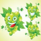 Juego de caracteres verde de la historieta de la expresión de la cara de las uvas Imagen de archivo