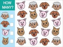 Juego de contar cuántos animales Juego matemático para los niños ilustración del vector