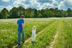 Juego de dos muchachos de los niños en un prado del verano Imagen de archivo