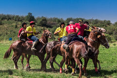 Juego de equipo nacional del Kazakh que monta Kokpar Fotografía de archivo libre de regalías