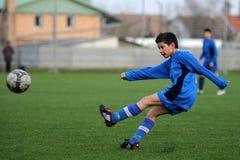 Juego de fútbol de Kaposvar - de Pecs U13 Imagen de archivo libre de regalías