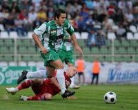 Juego de fútbol de Kaposvar-Debrecen Foto de archivo