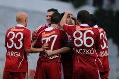 Juego de fútbol de Kaposvar-Debrecen Imágenes de archivo libres de regalías