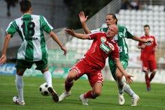 Juego de fútbol de Kaposvar-Debrecen Fotos de archivo