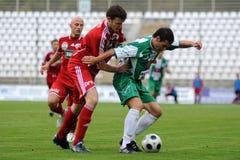 Juego de fútbol de Kaposvar-Debrecen Fotografía de archivo