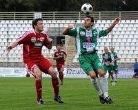 Juego de fútbol de Kaposvar-Debrecen Imagen de archivo libre de regalías