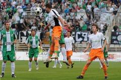 Juego de fútbol de Kaposvar-Ferencvaros Fotografía de archivo