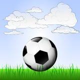 Juego de fútbol en paisaje pacífico  Foto de archivo